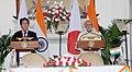 The Prime Minister, Shri Narendra Modi and the Prime Minister of Japan, Mr. Shinzo Abe, at the Joint Press Statement, in New Delhi on December 12, 2015.jpg