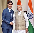 The Prime Minister, Shri Narendra Modi with the Prime Minister of Canada, Mr. Justin Trudeau, at Hyderabad House, in New Delhi on February 23, 2018 (3).jpg