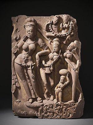 Yamuna in Hinduism - Image: The River Goddess Yamuna and Attendants LACMA M.79.9.10.2a b (4 of 12)