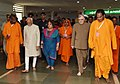 The Vice President, Shri M. Hamid Ansari and Smt. Salma Ansari visiting the Santhigiri Ashram in Thiruvananthapuram, Kerala on August 30, 2016. The Governor of Kerala, Shri Justice (Retd.) P. Sathasivam is also seen.jpg