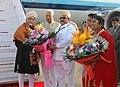 The Vice President, Shri M. Hamid Ansari being received by the Governor of Karnataka, Shri Vajubhai Vala, on his arrival, in Bengaluru on February 10, 2017.jpg