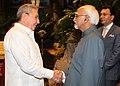 The Vice President, Shri Mohd. Hamid Ansari calls on the President of Cuba, Mr. Raul Castro, in Havana, Cuba on October 30, 2013. The Minister of State for Human Resource Development, Shri Jitin Prasada is also seen.jpg