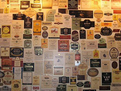 Part of the wall in the lounge of the Whisky Heritage Centre