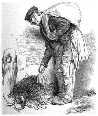 """Rag-and-bone man - The Bone-Grubber by Richard Beard. Henry Mayhew described one bone-grubber he encountered as wearing a """"ragged coat ... greased over, probably with the fat of the bones he gathered""""."""