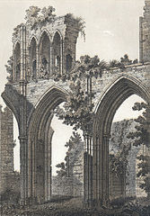 The nave of Llandaff cathedral in ruins, taken from the N. W