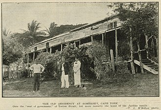 "Francis Lascelles Jardine - The old residency at Somerset, Cape York. Once the ""seat of government"" of Torres Strait, but more recently the home of the Jardine family, 1917"