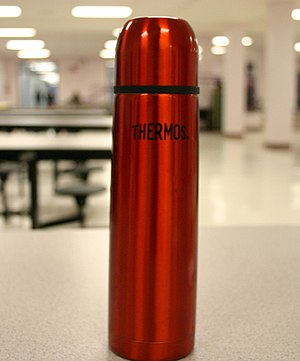 Vacuum flask - The typical design of a Thermos brand vacuum flask, used for maintaining the temperature of fluids such as coffee.