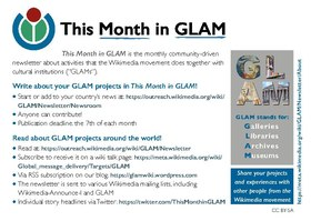 Flyer This Month in GLAM newsletter