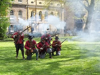The Sealed Knot (reenactment) - Thomas Rainsborough Company of the Sealed Knot firing in salute, Wapping 2013