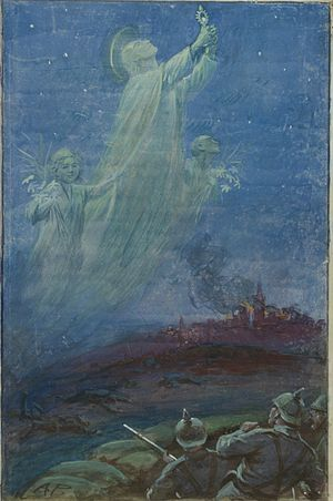 Alfred Pearse - Pearse's version of the Angel of Mons legend, 1915
