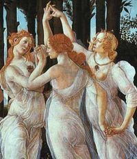 The Three Graces, from Sandro Botticelli's painting Primavera in the Uffizi Gallery.