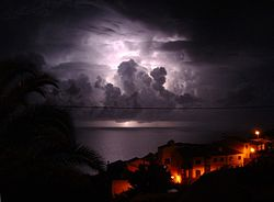 File photo of a thunderstorm, seen from Garajau, Madeira. Image: Don Amaro.
