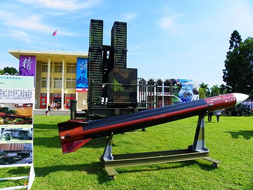 Tien Kung Ⅲ Missile Model with Launcher Trailer Display at Military Academy Ground 20140531a