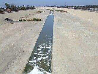 Tijuana River - Tijuana River seen from a pedestrian bridge in Tijuana (Mexico).