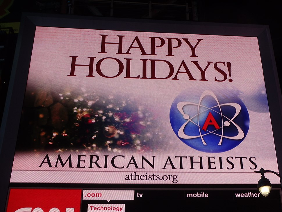 Times Square after dark atheist