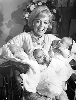 As Robbie's (Don Grady) wife, Katie, with triplets in My Three Sons, 1968