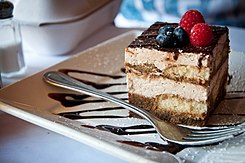 Tiramisu with blueberries and raspberries, July 2011.jpg