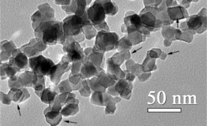 Titanium dioxide nanoparticle - Transmission electron micrograph of titanium dioxide nanoparticles from NIST Standard Reference Material 1898