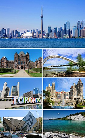 From top, left to right: The CN Tower and skyline viewed from Harbourfront, the Ontario Legislative Building, the Prince Edward Viaduct, City Hall with the 3D Toronto sign, Casa Loma, the Royal Ontario Museum and the Scarborough Bluffs