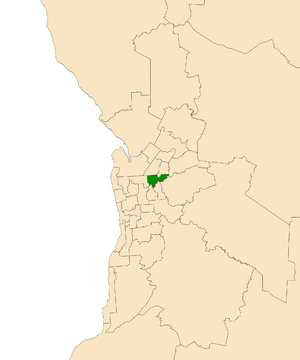 Electoral district of Torrens - Electoral district of Torrens (green) in the Greater Adelaide area