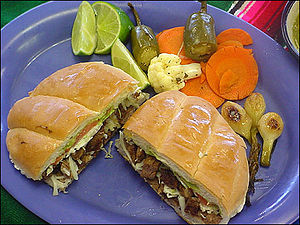 Torta - Mexican-style torta with typical accompaniments