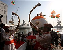 Traditional launching of the third Scorpene-class submarine, INS Karanj.jpg