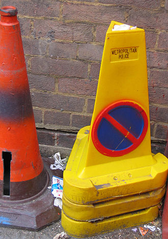 Traffic cone - Traffic cone on the right is used to indicate that no parking is allowed (UK)