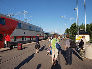 Rovaniemi railway station - This train has arrived at Rovaniemi railway station in early morning, having left Helsinki railway station on the previous evening.