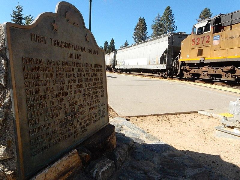 File:Transcontinental railroad monument w engine Colfax Ca.jpg