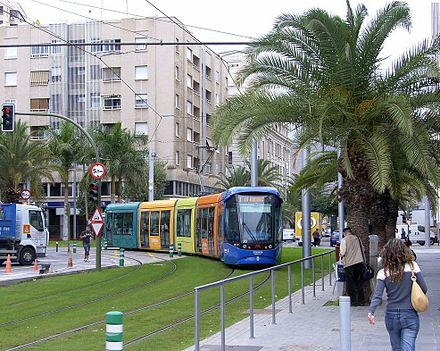 The Tenerife Tram in Tenerife, Spain, includes some operation at street level, but separated from other traffic Tranvia de Tenerife1.jpg