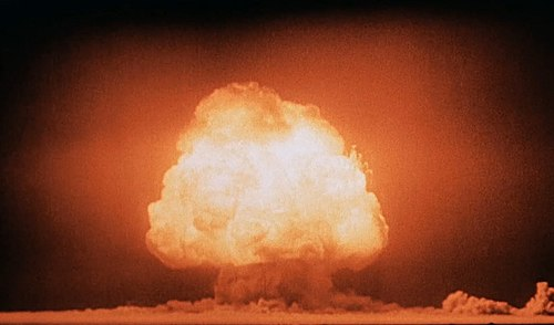 "The Trinity test of the Manhattan Project was the first detonation of a nuclear weapon, which lead Oppenheimer to recall verses from the Hindu scripture Bhagavad Gita, notably being: ""I am become Death, the destroyer of worlds"". Trinity Detonation T&B.jpg"