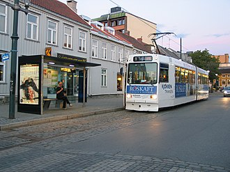 St. Olavs Gate (station) - A tram entering St. Olavs Gate