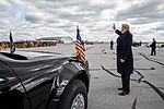 President Donald J. Trump waves to awaiting supporters Saturday, Oct. 27, 2018, as he disembarks Air Force One at Indianapolis International Airport, to address the Future Farmers of America convention in Indianapolis.
