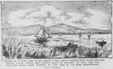 Drawing of the lush environment of Tulare Lake in 1875, including fishing and sailing boats
