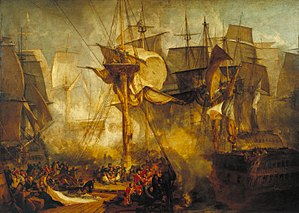 Eliab Harvey - Temeraire at the Battle of Trafalgar from a painting by J. M. W. Turner