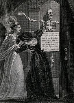 Two women open a cupboard in which a skeleton stands. Engrav Wellcome V0042203