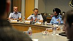 U.S. Air Force Lt. Gen. Kenneth Wilsbach, seated with Indian Force Air Marshal Birender Dhanoa, issues his opening remarks, officially beginning the first day of the Executive Steering Group.jpg