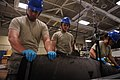 U.S. Airmen assigned to the 19th Component Maintenance Squadron place used C-130H Hercules aircraft blades into a crate to be refurbished at Little Rock Air Force Base, Ark., May 21, 2013 130521-F-IY632-018.jpg