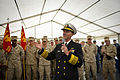 U.S. Navy Chief of Naval Operations Adm. Jonathan Greenert, center, speaks to Sailors and Marines aboard the amphibious dock landing ship USS Fort McHenry (LSD 43) during an all hands call with Secretary of 120831-N-WL435-235.jpg