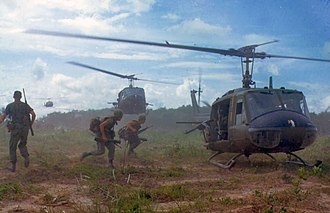 Air assault - Extraction of troops after an airmobile assault during the Vietnam War.