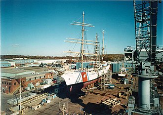 United States Coast Guard Yard - USCGC Eagle repaired at the Coast Guard Shipyard.