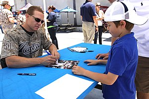 Nick Hundley - Hundley signing autograph at US Marine base in 2011