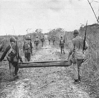 19th Marine Regiment (United States) - 19th Marines carry a bangalore mine towards a cave reported by the 21st Marine on Guam
