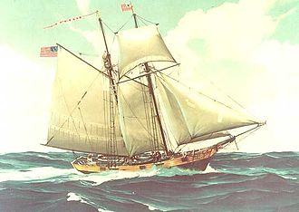 United States Coast Guard Cutter - Contemporary painting of a Revenue Marine cutter (possibly USRC Massachusetts)