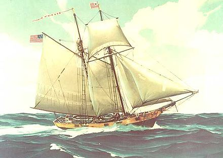 A painting of a Revenue Marine cutter, which may be of either the Massachusetts (1791), or its replacement, the Massachusetts II USRC Massachusetts (1791).jpg