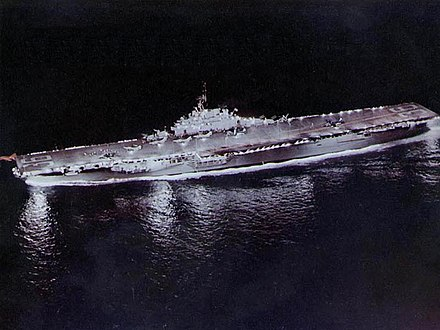 Night carrier operations on Antietam USS Antietam (CVA-36) underway at night in 1953 (80-G-K-16893).jpg