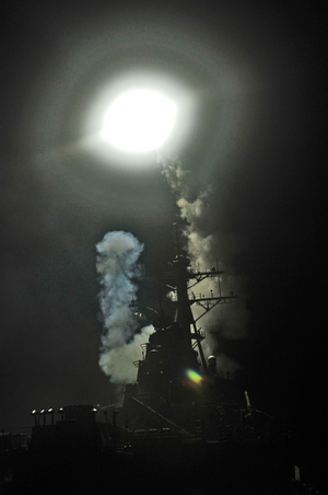 Operation Odyssey Dawn - Image: USS Barry fires Tomahawk missile Libya