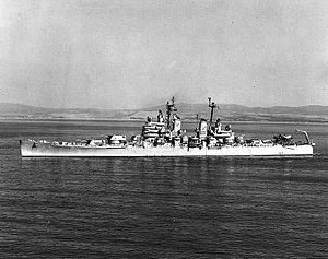USS Columbus (CA-74) off the coast of Spain, 12 July 1948 (NH 98457).jpg