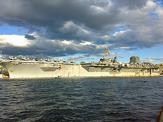 USS Kitty Hawk (CV-63) - View of the Kitty Hawk from the Royal Botanic Gardens, Sydney