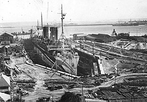 SS Kronprinzessin Cecilie (1906) - Mount Vernon in a drydock in Brest for repairs after being torpedoed by U-82, September 1918.